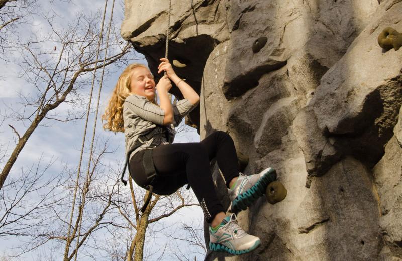 Rock climbing at Skytop Lodge.