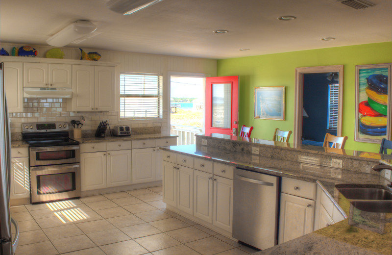 Rental kitchen at Paradise Gulf Properties.