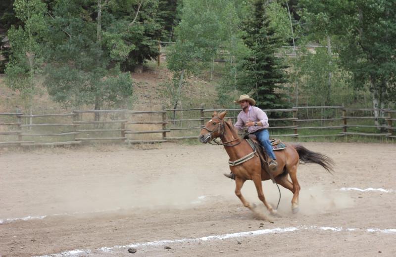 Horse riding at Tumbling River Ranch.