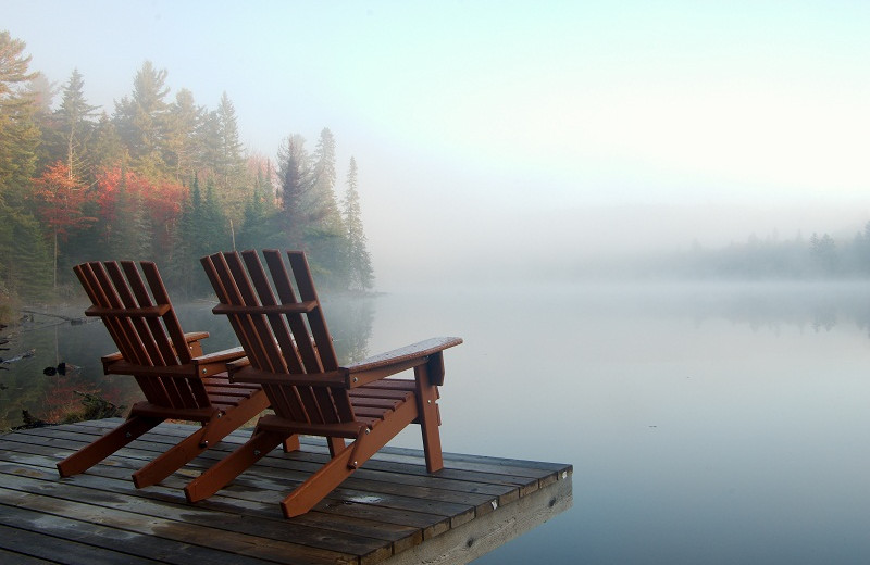 Lake view in fog at Algonquin Eco-Lodge.