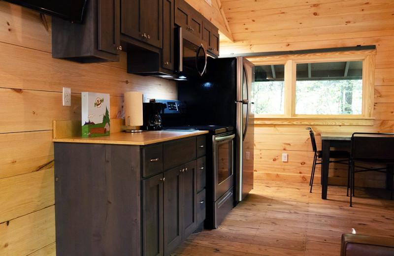 Cabin kitchen at Yogi Bear's Camp Golden Valley.