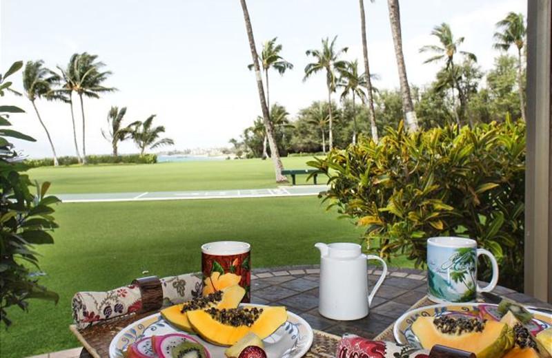 Dining on balcony at Maui Vacation Rentals.