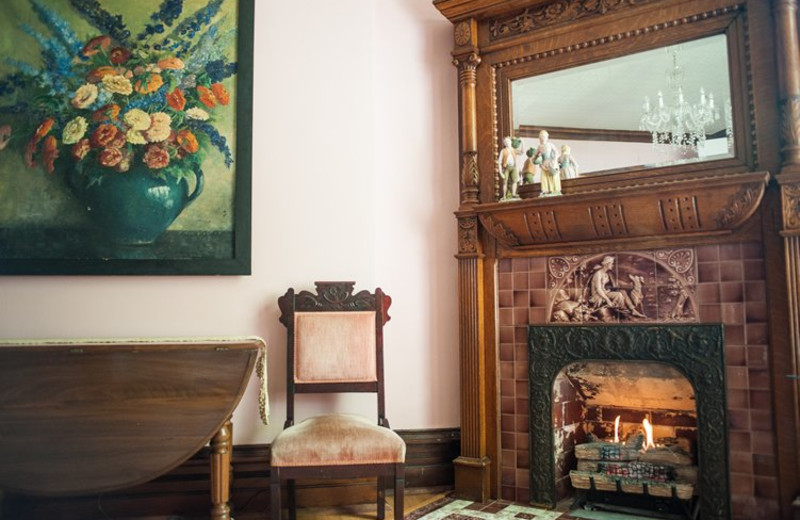 Fireplace at Market Street Inn.