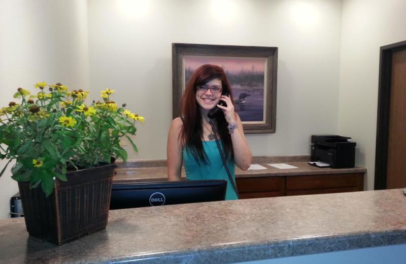 Reception desk at Battle Lake Inn and Suites.