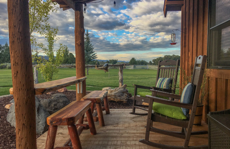 Guest porch at Cottonwood Meadow Lodge.