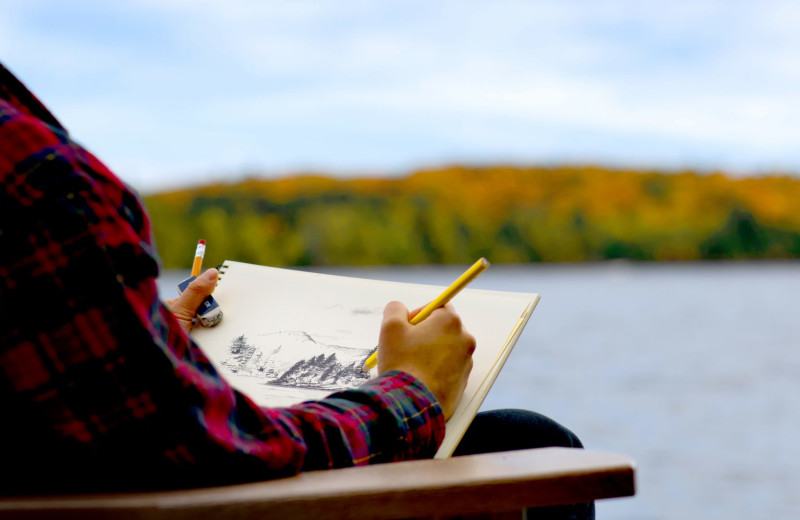 Sketching lake at Bartlett Lodge.