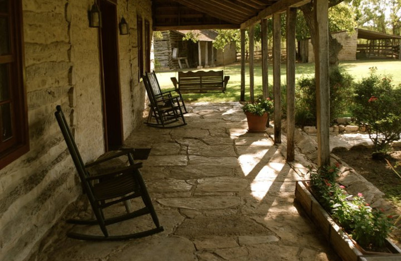 Cabin porch at Settlers Crossing.