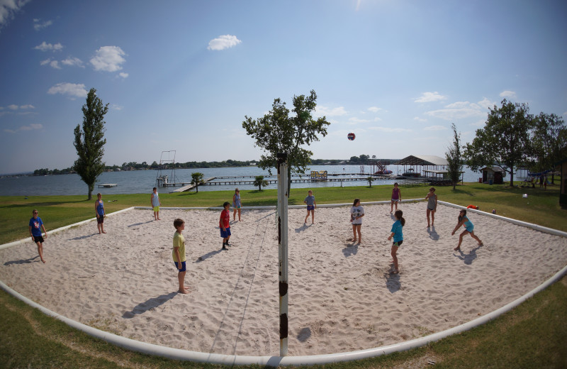 Volleyball court at Camp Champions on Lake LBJ.