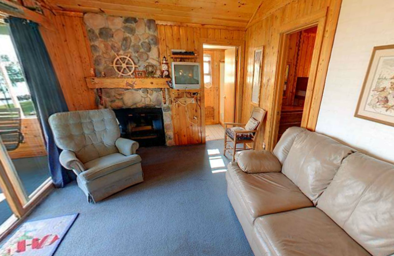 Cabin living room at Anderson's Northland Lodge.