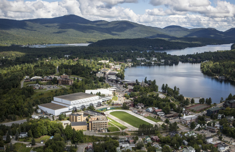 Aerial view of Lake Placid Summit Hotel Resort Suites.