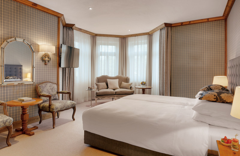 Guest room at Grand Hotel Sonnenbichl.