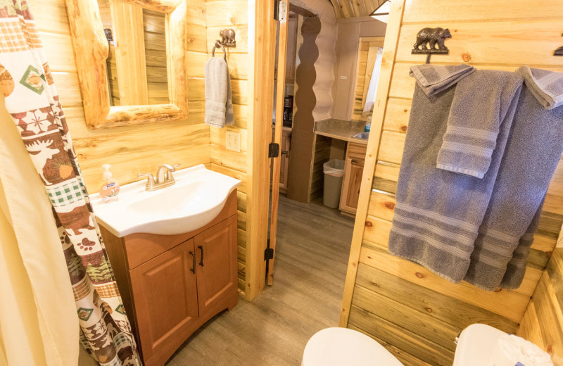 Cabin bathroom at Pine River Lodge.