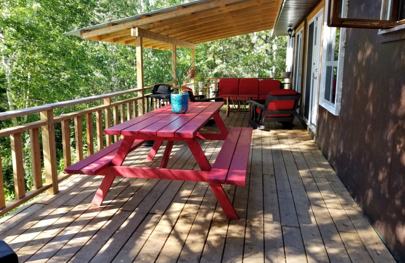 Cottage deck at Mattawa River Resort.