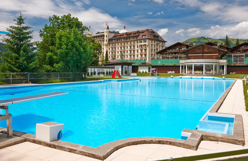 Outdoor pool at Gstaad Palace Hotel.