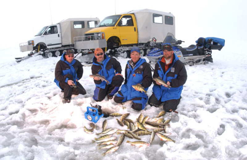 Ice fishing at Arnesen's Rocky Point Resort.