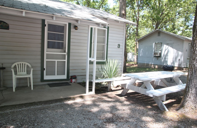 Cottage exterior at Bayou Resort.
