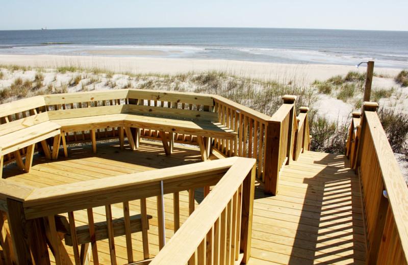 Rental deck at Oak Island Accomodations.