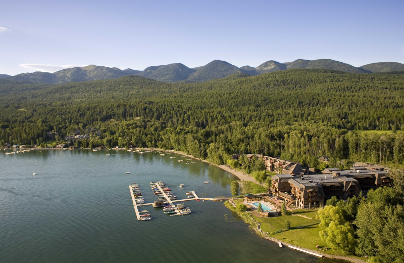 Exterior view of The Lodge at Whitefish Lake.