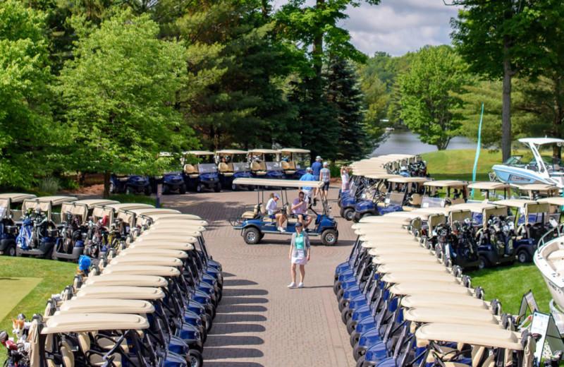Golf carts at Port Cunnington Lodge & Resort.