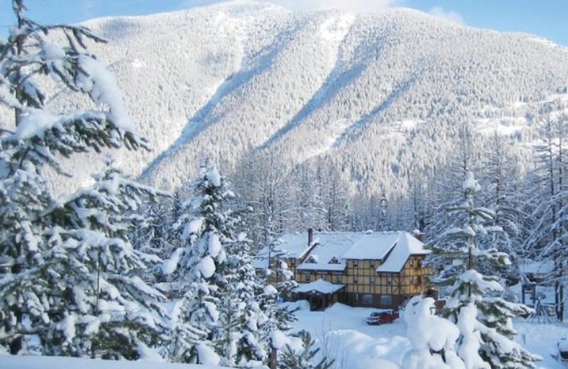 Snow covered landscape at Izaak Walton Inn.