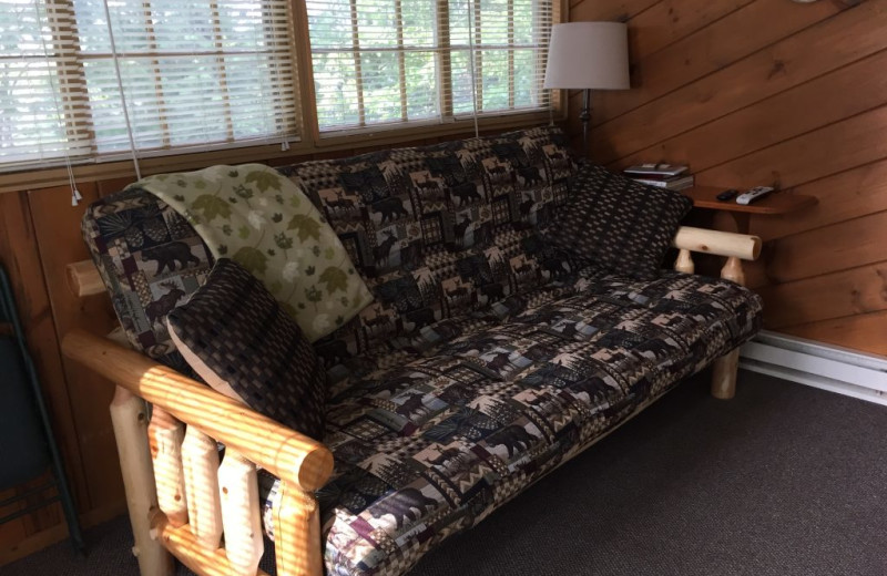 Cabin couch at Blackduck Lodge & Resort.