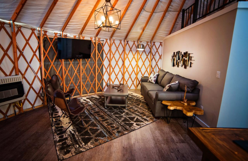 Guest living room at Escalante Yurts.
