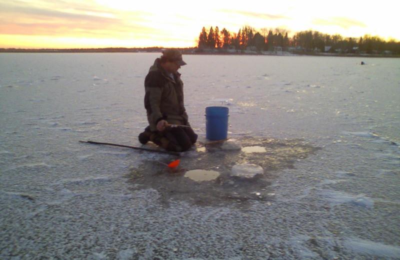 Ice fishing at Adrian's Resort.