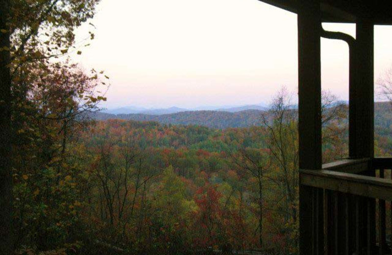 Cabin deck view at Black Bear Cabin Rentals.