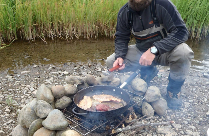 Campfire at Alaska Trophy Adventures Lodge.