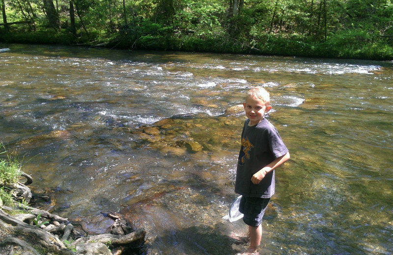 Creek fishing at Cabin Fever Vacations.