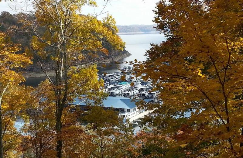 View of lake at Jamestown Resort and Marina.