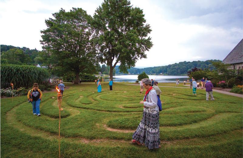 Visitors walk the labyrinth, a place of meditation at Lake Junaluska Conference and Retreat Center.