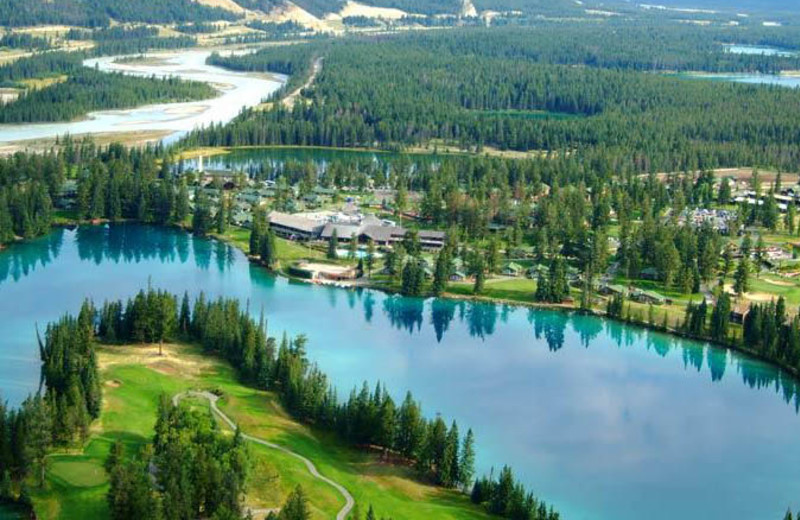 Aerial view of The Fairmont Jasper Park Lodge.