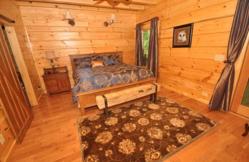 Rental bedroom at Rumbling Bald Resort.