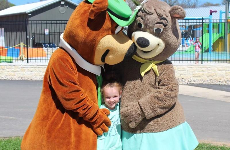 Park mascots at Yogi Bear's Jellystone Park™ Guadalupe River.