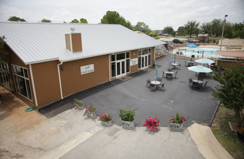 Event center exterior at Hill Country RV Resort & Cottage Rentals.