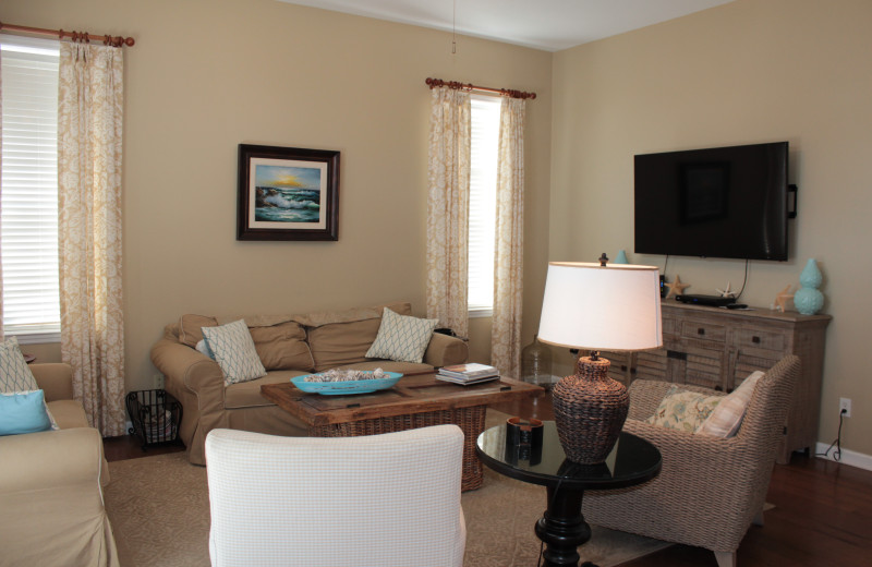 Rental living room at Seagrove On The Beach Property Rentals.