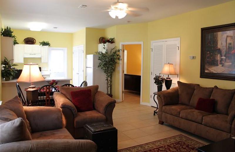 Guest living room at Orange Beach Villas.