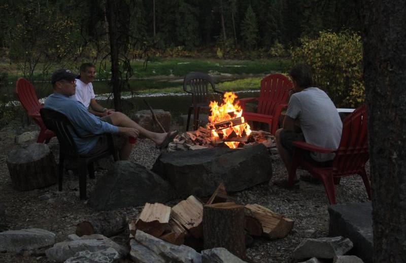 Campfire at Clark Fork River Lodge.