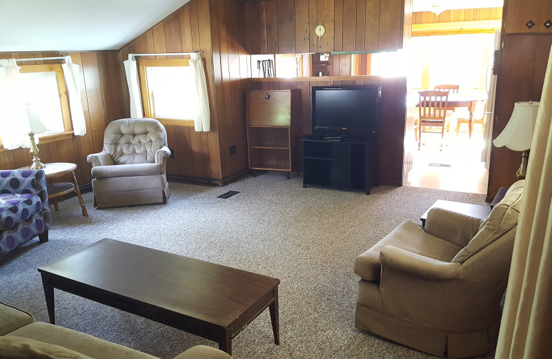 Cabin living room at Riverbank Motel & Cabins.
