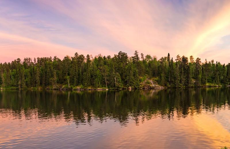 Lake sunset at Dogtooth Lake Resort.