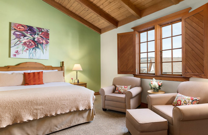 Features include king bed, gas fireplace and walk in shower.