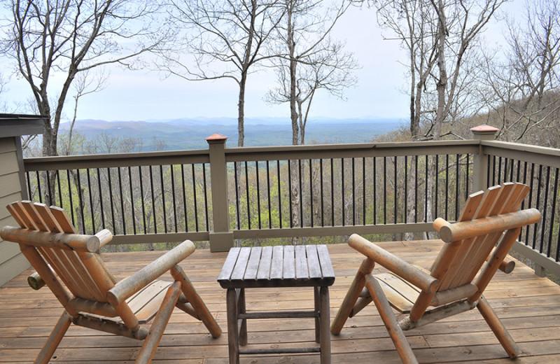 Deck view at Mountain Vista Rentals.