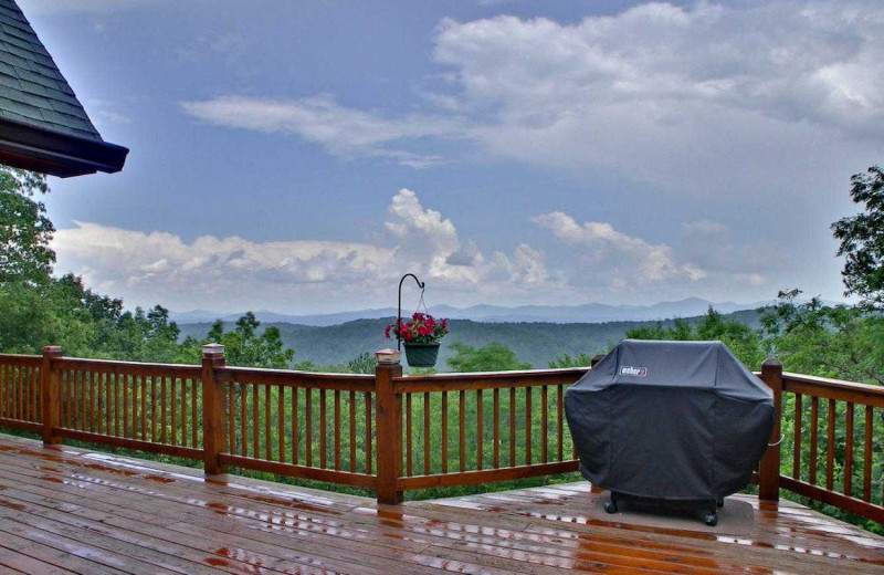 Deck view at Southern Comfort Cabin Rentals.