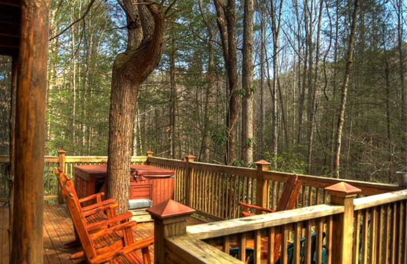 Cabin deck at American Mountain Rentals.