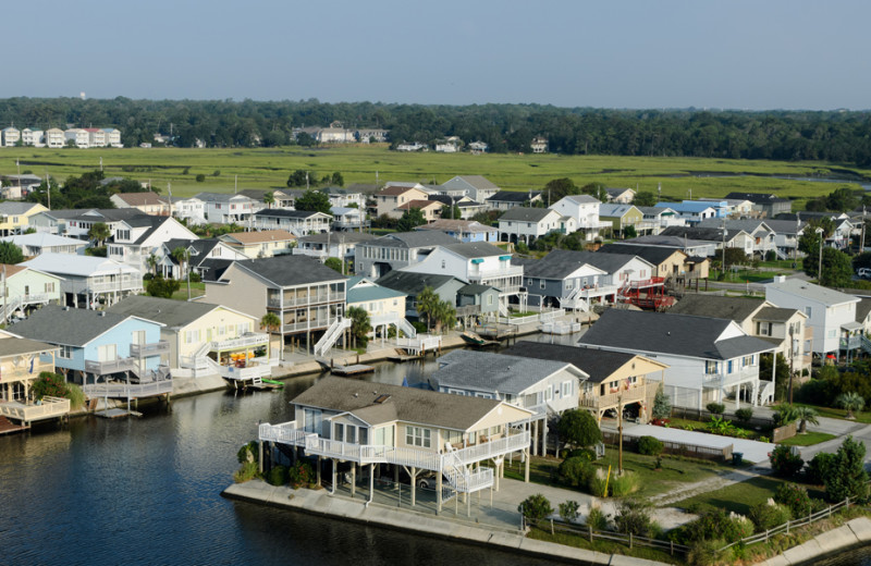 Aerial view of rentals at Barefoot Resort Rentals.