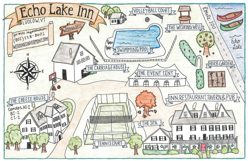 Map of Echo Lake Inn.