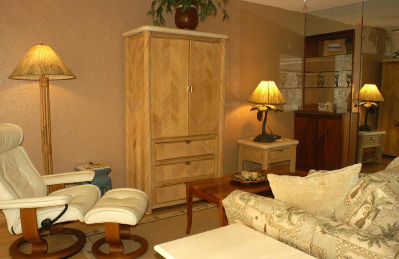 Vacation rental living room at Island Sands Resort.