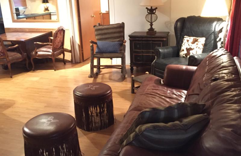 Cabin living room at Buckhead Ranch.