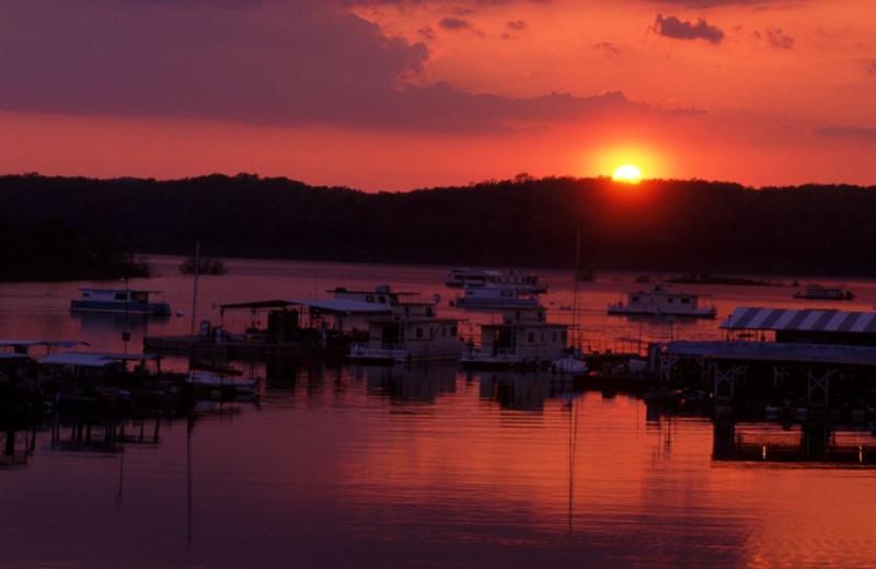 Sunset on the lake at Driftwood Resort.